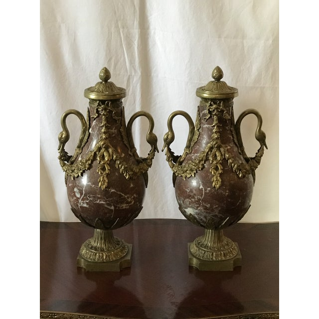 Marble and Bronze Gilt Urns with Bronze Mounts - a Pair For Sale - Image 9 of 13