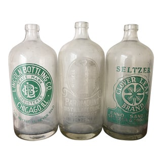 Chicago Seltzer & Soda Bottles - Set of 3 For Sale