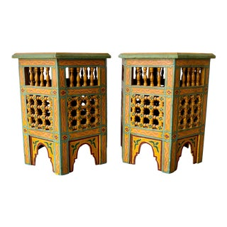 Gold Moroccan Style End Tables - a Pair For Sale