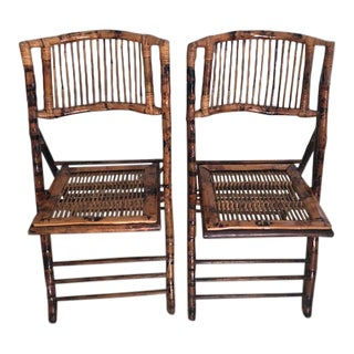 1970s Vintage Rattan Folding Side Chairs- A Pair For Sale