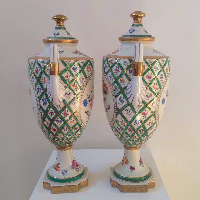 Floral Porcelain Urns - A Pair For Sale - Image 4 of 11
