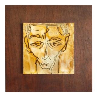 Mid-Century Mans Face Framed Art Pottery Tile For Sale