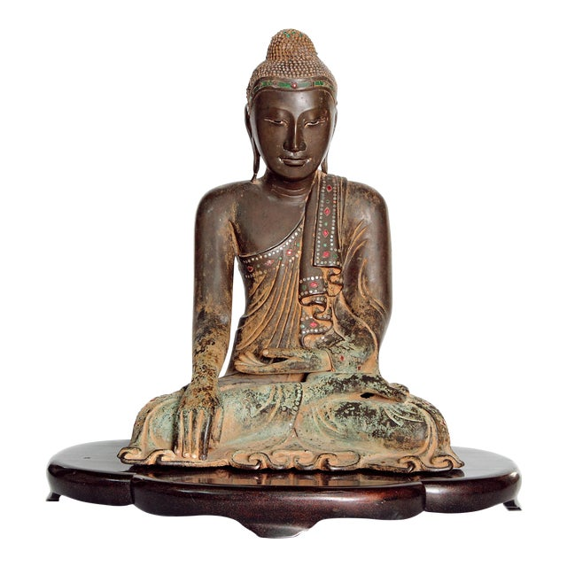 19th Century Patinated and Gilt Bronze Burmese Buddha For Sale