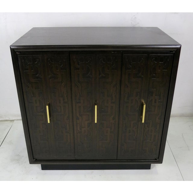 Contemporary Pair of Exotic Embossed Front Cabinets by John Widdicomb For Sale - Image 3 of 5