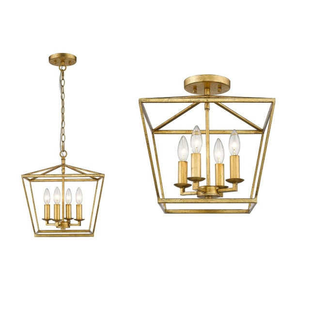 The classic lantern pendant get a glamorous update with a gilded gold finish. Takes 60W bulb. Shipped with loop to turn...