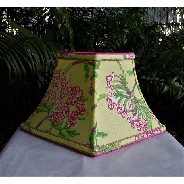 Metal Lilly Pulitzer Fabric Lampshade Hot Pink Green Tropical Floral For Sale - Image 7 of 10