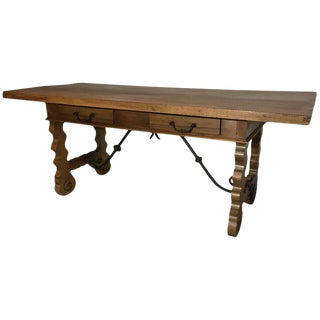 18th Century Baroque Original Farm Refectory Desk Table With Two Drawers For Sale