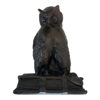 """1923 """"Owl Seated on a Book"""" Plaster Sculpture by F Hittenkofer For Sale"""