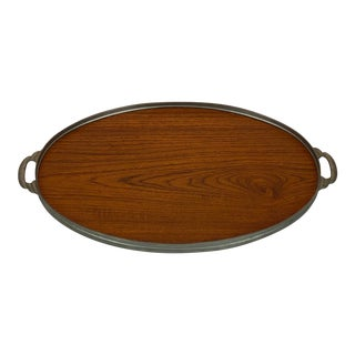 Mid-Century Teak & Pewter Serving Tray For Sale