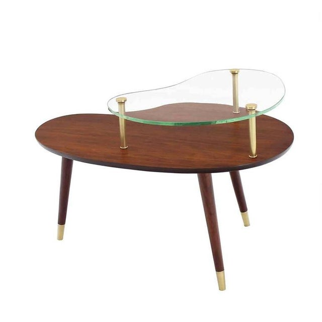 Mid 20th Century Vintage Mid Century Walnut Glass & Brass Organic Shape Side Table For Sale - Image 5 of 10
