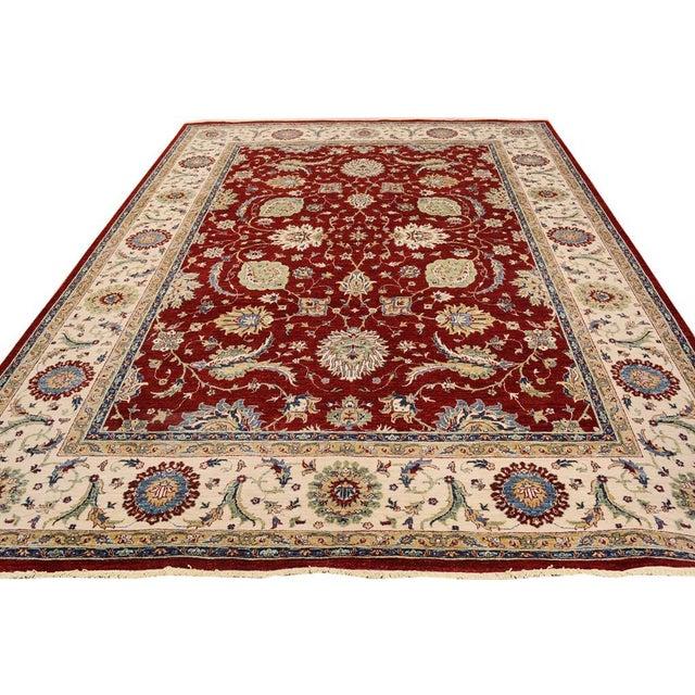 Kafkaz Peshawar Rubin Red & Ivory Wool Rug - 9'0 X 11'10 For Sale - Image 4 of 7