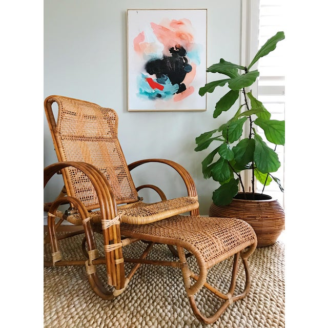 Rattan Reclining Lounge Chair W/ Ottoman For Sale - Image 10 of 10