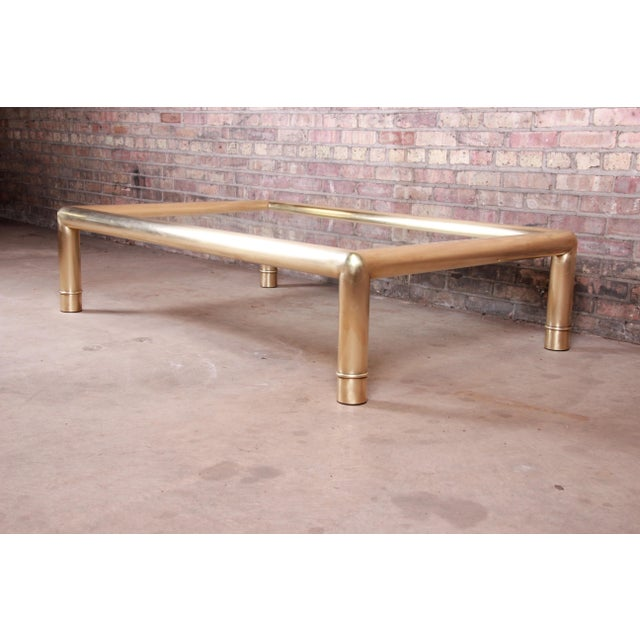 Mastercraft Monumental Hollywood Regency Chinoiserie Brass and Glass Cocktail Table For Sale - Image 10 of 10