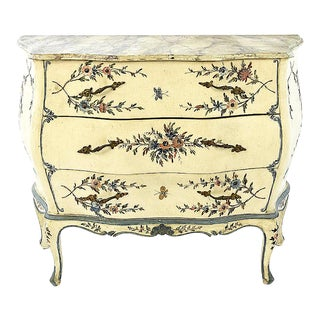 20th Century Shabby Chic Italian Floral Bombe' Chest For Sale