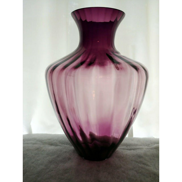 Amethyst Vintage Pilgrim Glass Co Amethyst/Plum Optic Masterwork Collection Art Glass Vase For Sale - Image 8 of 13