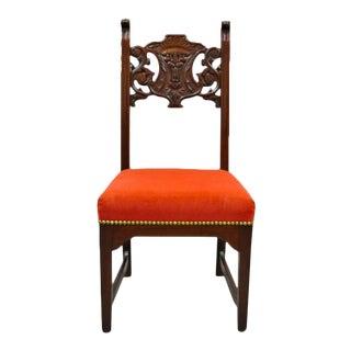 Antique Renaissance Revival Lion Northwind Carved Walnut Figural Side Chair For Sale
