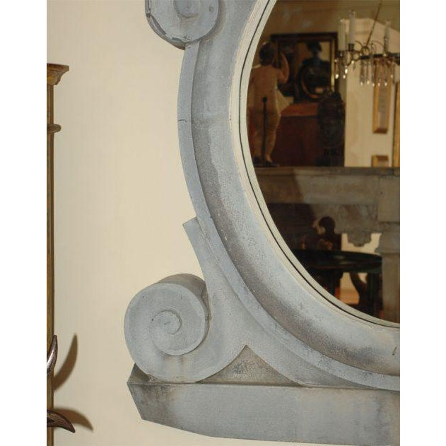 This fantastically alive and flowing French zinc window frame with great, unique color later made into a mirror makes...