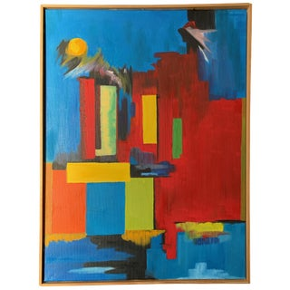 1980s Abstract Shapes Contemporary Signed Oil Painting For Sale