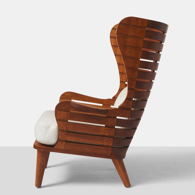 A LINEAR WING CHAIR EXCLUSIVELY FOR ALMOND & CO. For Sale - Image 4 of 11