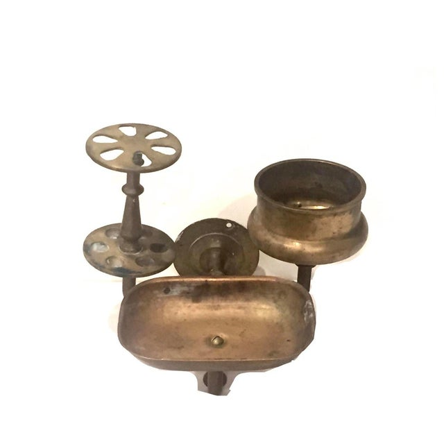 English Traditional Vintage Brass Bathroom Wall Fixture For Sale - Image 3 of 12