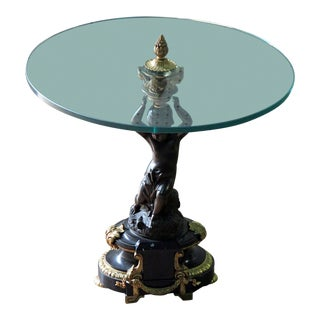Empire Style Glass Top Gueridon Table For Sale