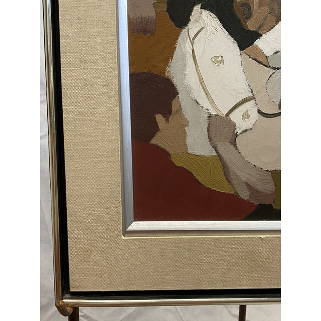 """Red Vintage Oil on Canvas """"Derby Day"""" Signed Youst Horse Racing Equine Painting For Sale - Image 8 of 10"""