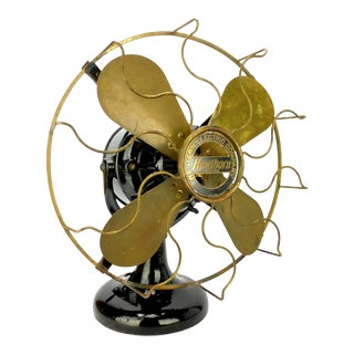 "Circa 1911 12"" Western Electric Hawthorn ""Tank"" Table or Desk Fan For Sale"