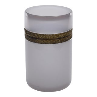 French Alexandrite Opaline Glass Cylindrical Box With Brass Mounts For Sale