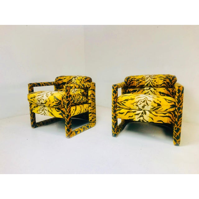 Custom Tiger Print Milo Baughman Chairs For Sale - Image 12 of 13