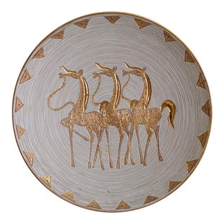 1960s Vintage Ceramic Plate With Horses Italy Elbee For Sale