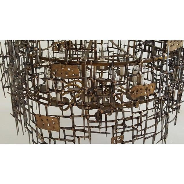 Bronze Welded Bronze & Nails Metal Chandelier For Sale - Image 7 of 11