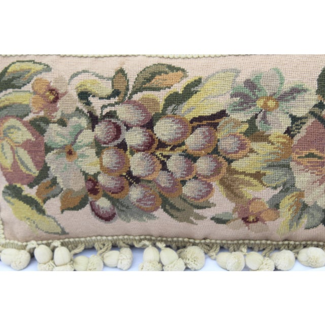 Tan 19th Century Needle Point Down Lumbar Pillow For Sale - Image 8 of 9