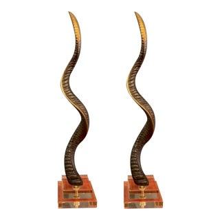 Maitland-Smith Cast Brass Horns - a Pair For Sale