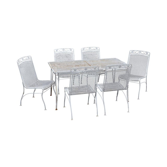 Woodard Vintage Wrought Iron 7 Pc Patio Dining Set - Table + 6 Chairs For Sale - Image 12 of 12