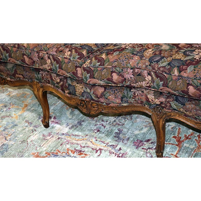 French Louis XV Style Carved Walnut Tapestry Sofa For Sale - Image 3 of 13