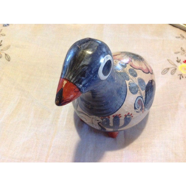 Ceramic Vintage Large Tonala Cactus, Flower and Bird Motif Dove Bird Figurine For Sale - Image 7 of 8