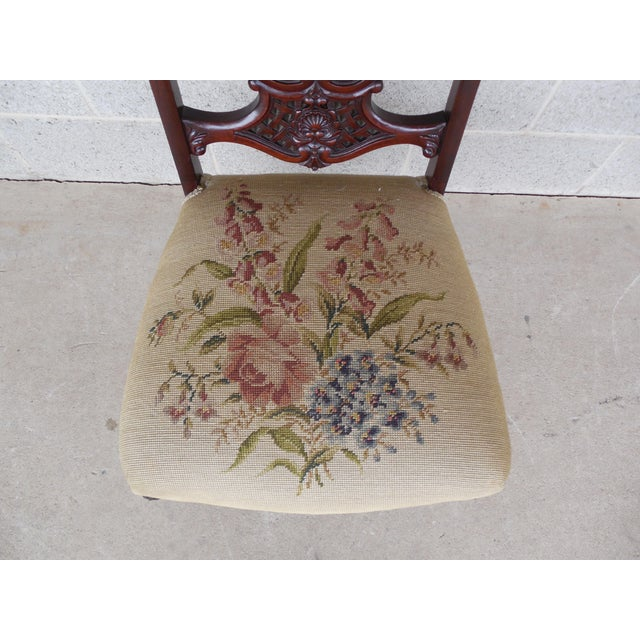 Vintage French Louis XV Style Carved Mother of Pearl Inlay Vanity Chair For Sale - Image 4 of 10