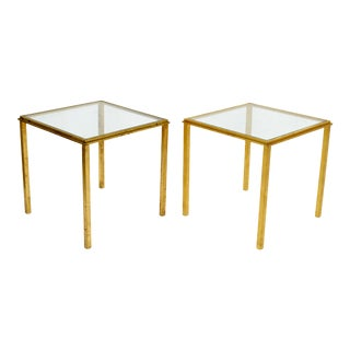 Maison Lancel Brass & Clear Glass Top Side / End Tables - Pair For Sale