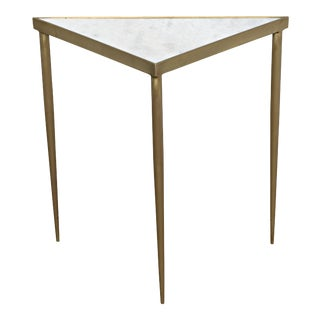 Comet Triangle Side Table in Stone and Metal with Brass Finish - Large For Sale