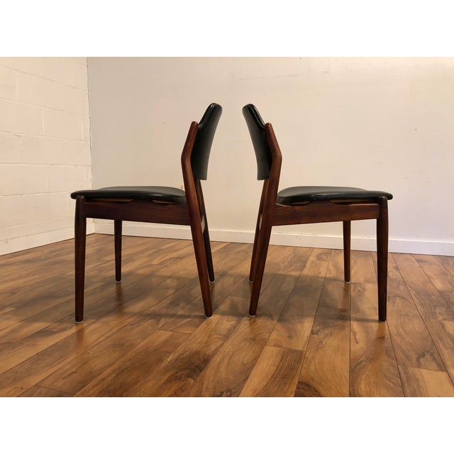 Animal Skin Arne Vodder for Sibast Rosewood and Leather Side Chairs, Made in Denmark, a Pair For Sale - Image 7 of 9
