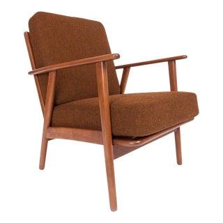 Vintage Mid Century Modern Danish Beechwood Lounge Chair Re-Upholstered in Hallingdal by Kvadrat
