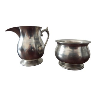 Traditional Pewter Sugar Bowl and Creamer Set - 2 Pieces For Sale