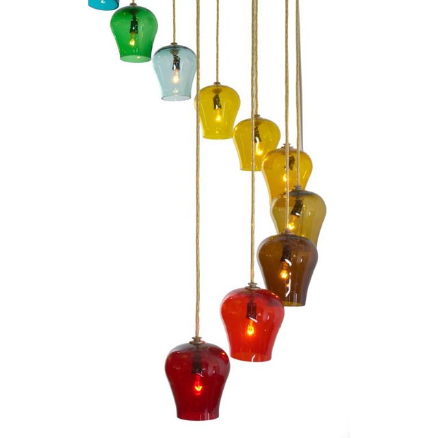 Mid-Century Modern Morris Lapidus Rainbow Spiral Glass Chandeliers - a Pair For Sale - Image 3 of 7