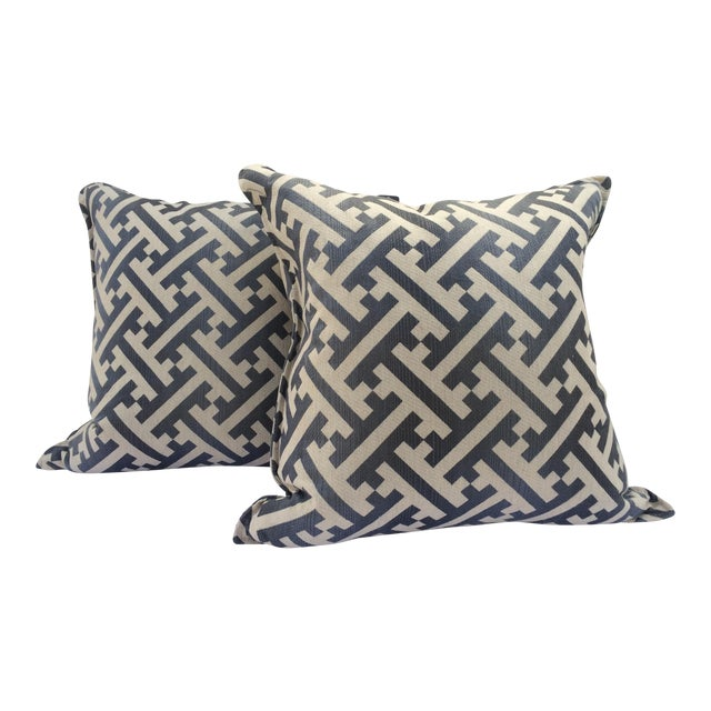 Modern Contemporary Graphic Pattern Pillows - a Pair - Image 1 of 7