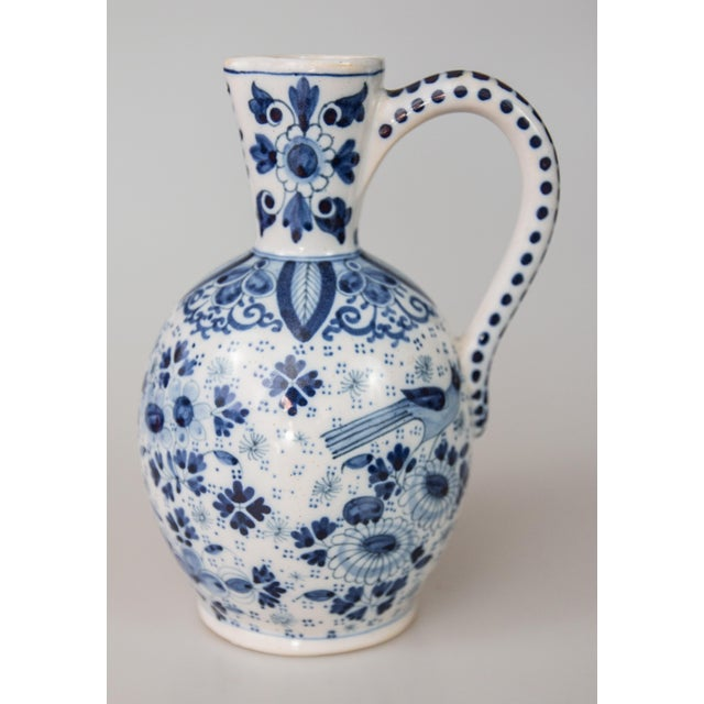 Stunning antique Delft faience cobalt blue and white pitcher by Boch Keramis, a well-known Belgian maker. Signed on the...