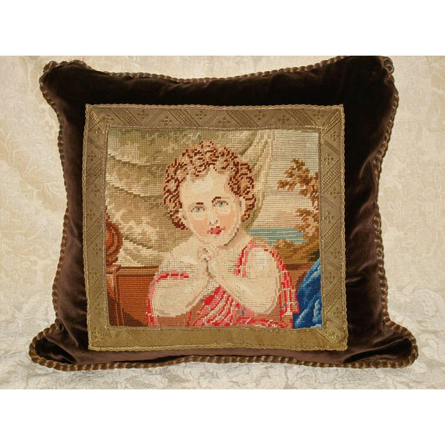 19th C Needlepoint Tapestry Portrait of Child Pillow - Image 6 of 7