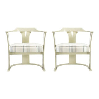 Bone Lacquer Sled Base Barrel Chairs - a Pair For Sale