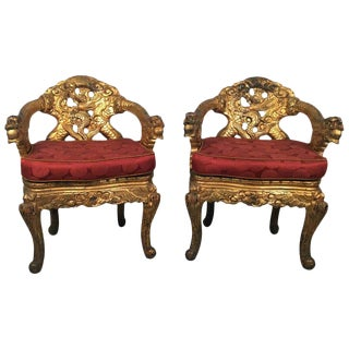 1920s Vintage Hand Carved Gilt Japanese Chairs- A Pair For Sale
