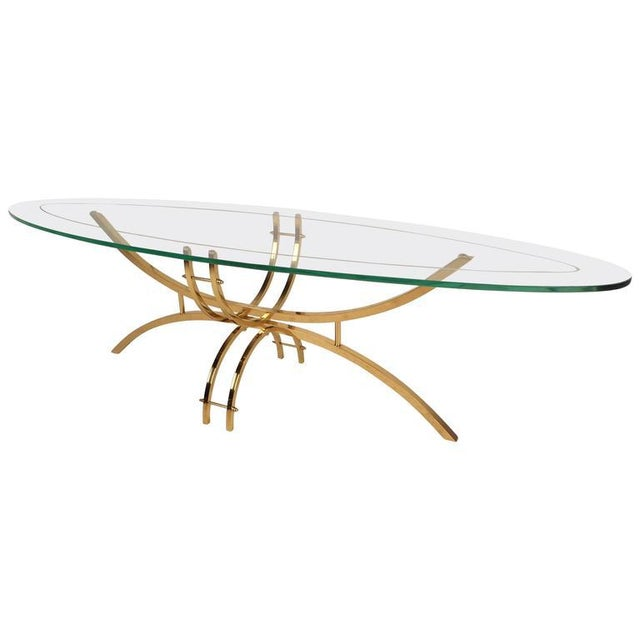 Green Contemporary Modern Glass and Brass Surfboard Coffee Table For Sale - Image 8 of 8