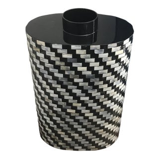 Shell Inlay Black and Blue Lacquer Vase